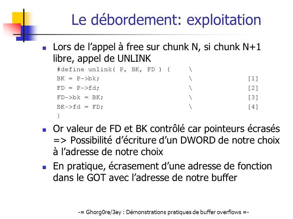 -= Ghorg0re/3ey : Démonstrations pratiques de buffer overflows =- Le débordement: exploitation Lors de lappel à free sur chunk N, si chunk N+1 libre,