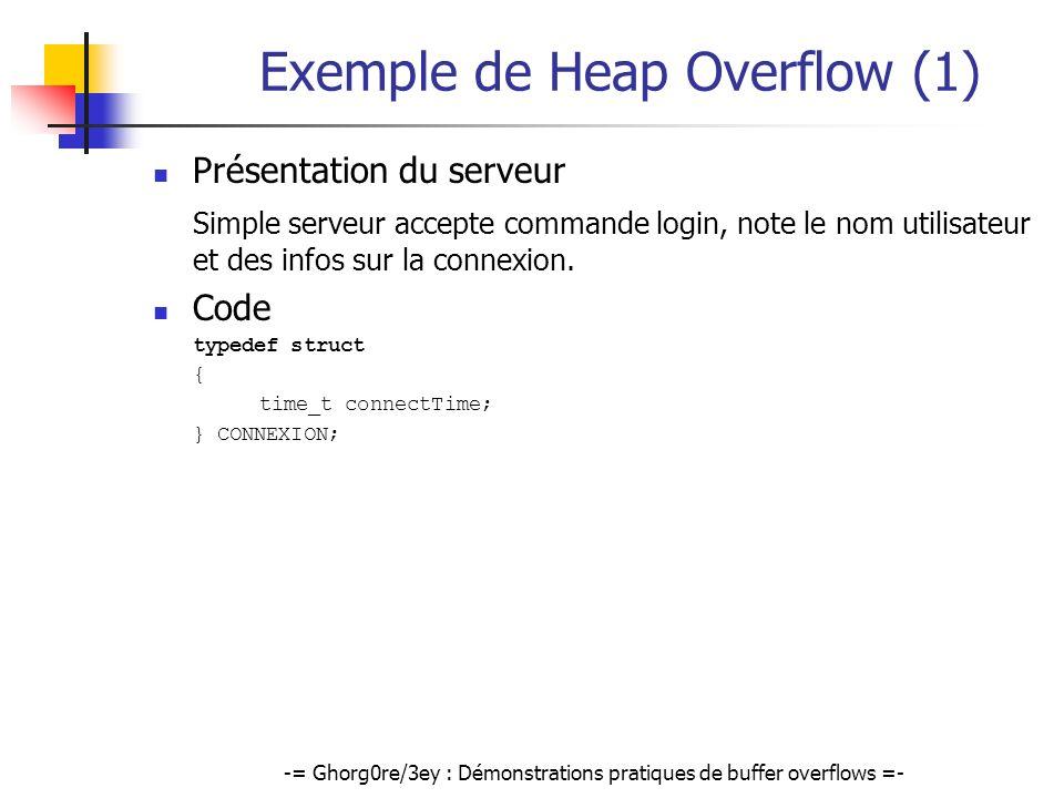 -= Ghorg0re/3ey : Démonstrations pratiques de buffer overflows =- Exemple de Heap Overflow (1) Présentation du serveur Simple serveur accepte commande