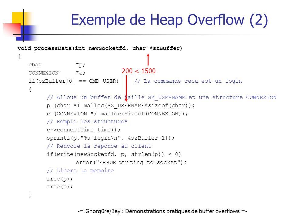 -= Ghorg0re/3ey : Démonstrations pratiques de buffer overflows =- Exemple de Heap Overflow (2) void processData(int newSocketfd, char *szBuffer) { cha