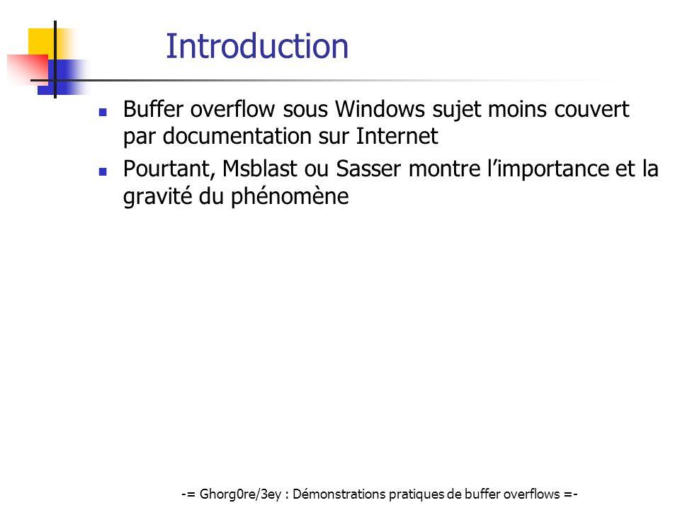 -= Ghorg0re/3ey : Démonstrations pratiques de buffer overflows =- Introduction Buffer overflow sous Windows sujet moins couvert par documentation sur