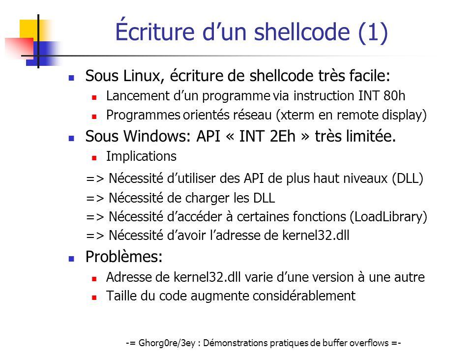 -= Ghorg0re/3ey : Démonstrations pratiques de buffer overflows =- Écriture dun shellcode (1) Sous Linux, écriture de shellcode très facile: Lancement