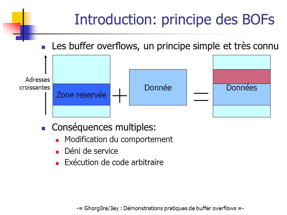 -= Ghorg0re/3ey : Démonstrations pratiques de buffer overflows =- Exemple de Stack overflow (2) Principe de lexploitation @ szBuffer @ retour ebp szMsg sprintf @ szBuffer Données @ retour ebp Écrase @retour => Quelle est la structure des données envoyées ?