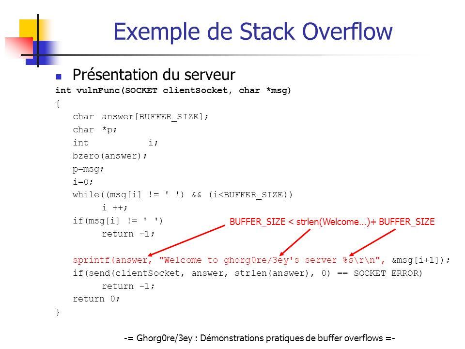 -= Ghorg0re/3ey : Démonstrations pratiques de buffer overflows =- Exemple de Stack Overflow Présentation du serveur int vulnFunc(SOCKET clientSocket,