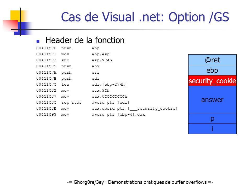 -= Ghorg0re/3ey : Démonstrations pratiques de buffer overflows =- Cas de Visual.net: Option /GS Header de la fonction 00411C70 push ebp 00411C71 mov e