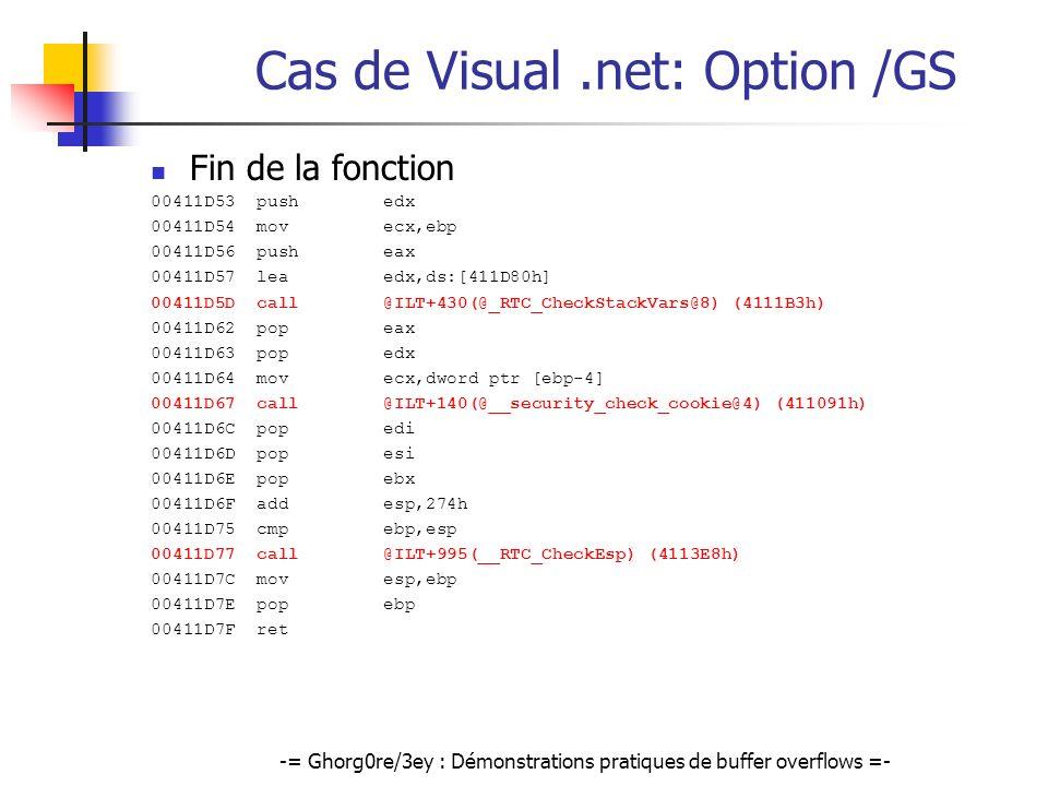 -= Ghorg0re/3ey : Démonstrations pratiques de buffer overflows =- Cas de Visual.net: Option /GS Fin de la fonction 00411D53 push edx 00411D54 mov ecx,