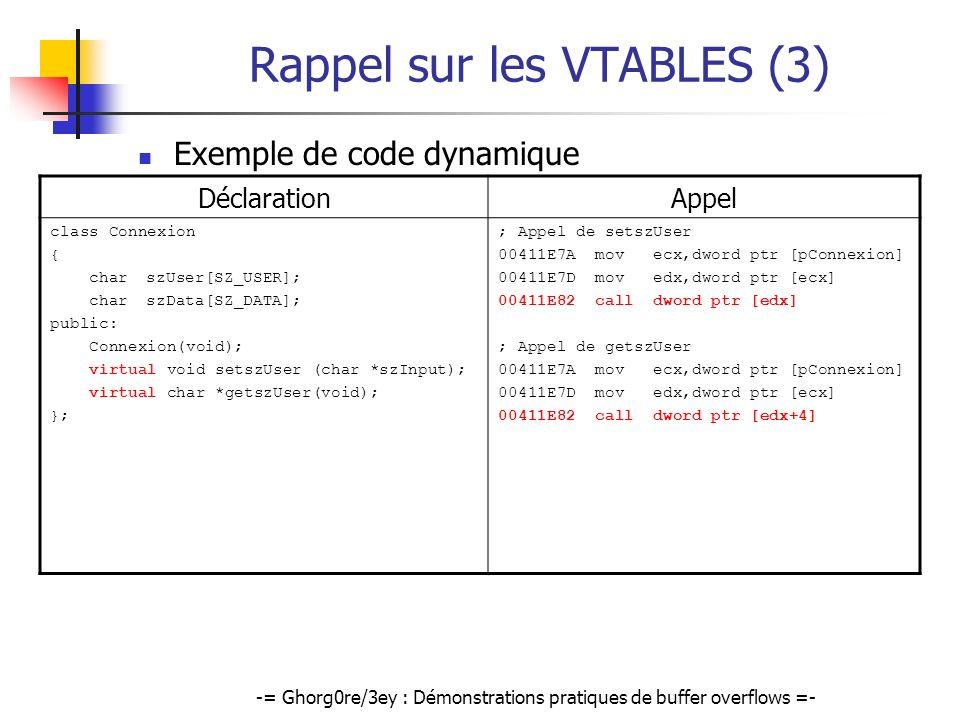 -= Ghorg0re/3ey : Démonstrations pratiques de buffer overflows =- Rappel sur les VTABLES (3) Exemple de code dynamique DéclarationAppel class Connexio