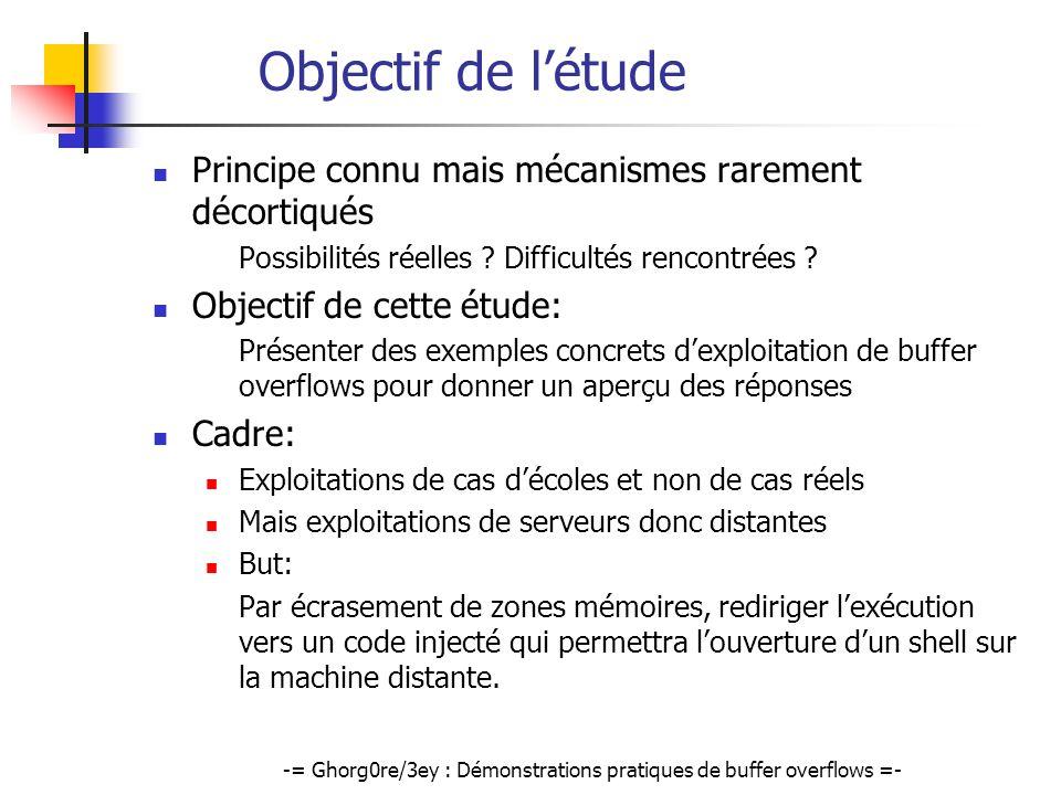 -= Ghorg0re/3ey : Démonstrations pratiques de buffer overflows =- Objectif de létude Principe connu mais mécanismes rarement décortiqués Possibilités
