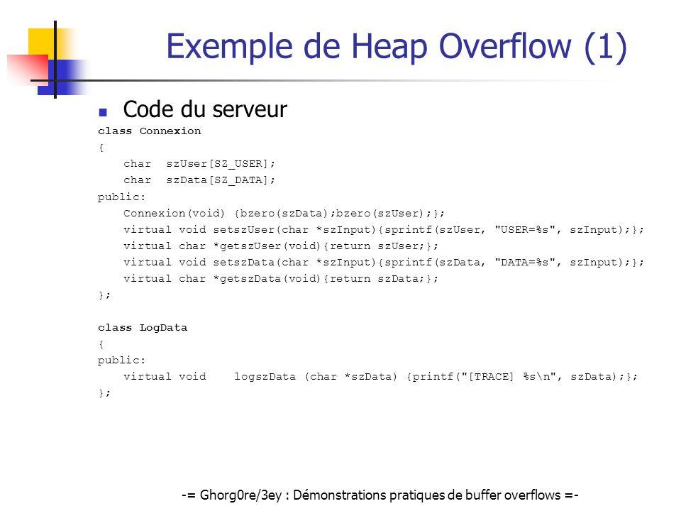 -= Ghorg0re/3ey : Démonstrations pratiques de buffer overflows =- Exemple de Heap Overflow (1) Code du serveur class Connexion { charszUser[SZ_USER];