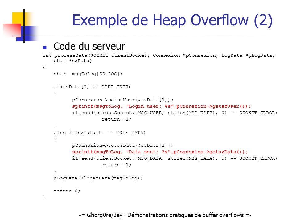 -= Ghorg0re/3ey : Démonstrations pratiques de buffer overflows =- Exemple de Heap Overflow (2) Code du serveur int processData(SOCKET clientSocket, Co