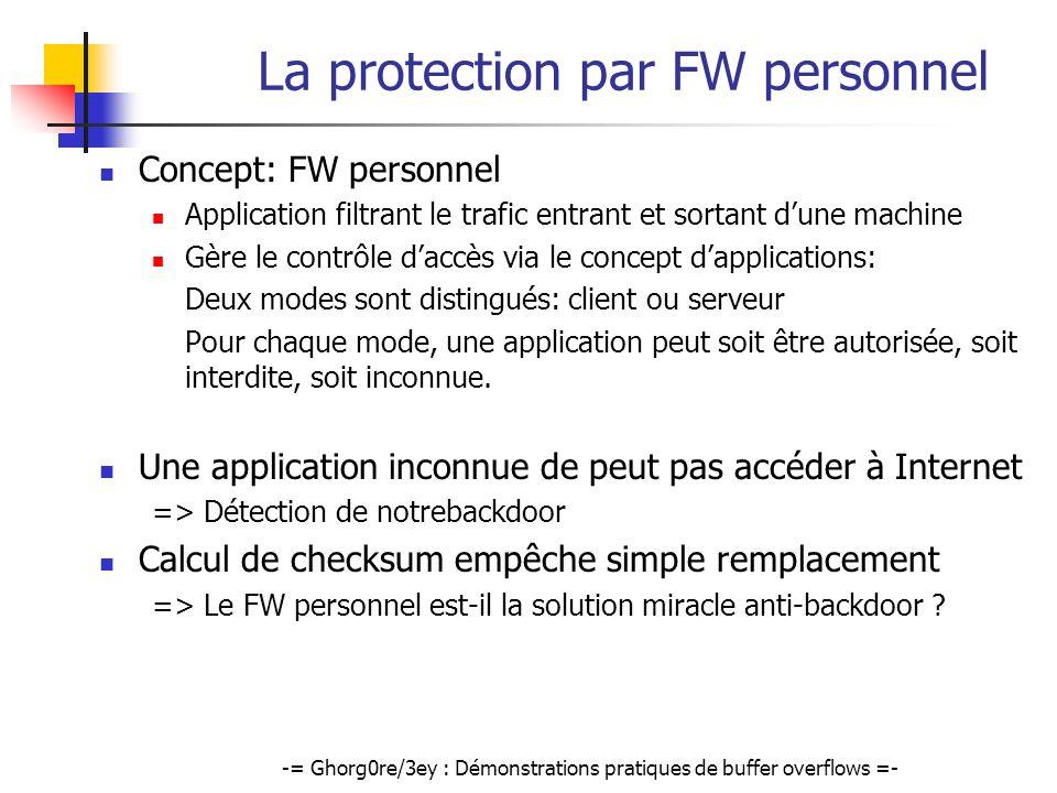 -= Ghorg0re/3ey : Démonstrations pratiques de buffer overflows =- La protection par FW personnel Concept: FW personnel Application filtrant le trafic