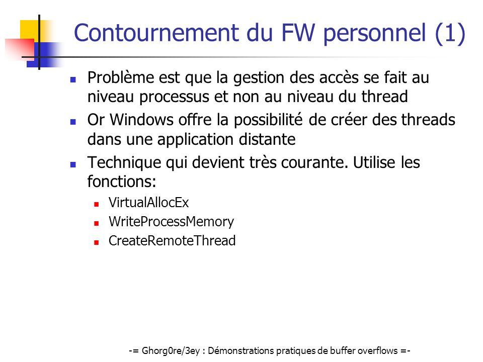 -= Ghorg0re/3ey : Démonstrations pratiques de buffer overflows =- Contournement du FW personnel (1) Problème est que la gestion des accès se fait au n