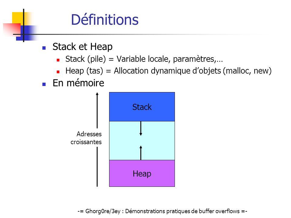 -= Ghorg0re/3ey : Démonstrations pratiques de buffer overflows =- Définitions Stack et Heap Stack (pile) = Variable locale, paramètres,… Heap (tas) =