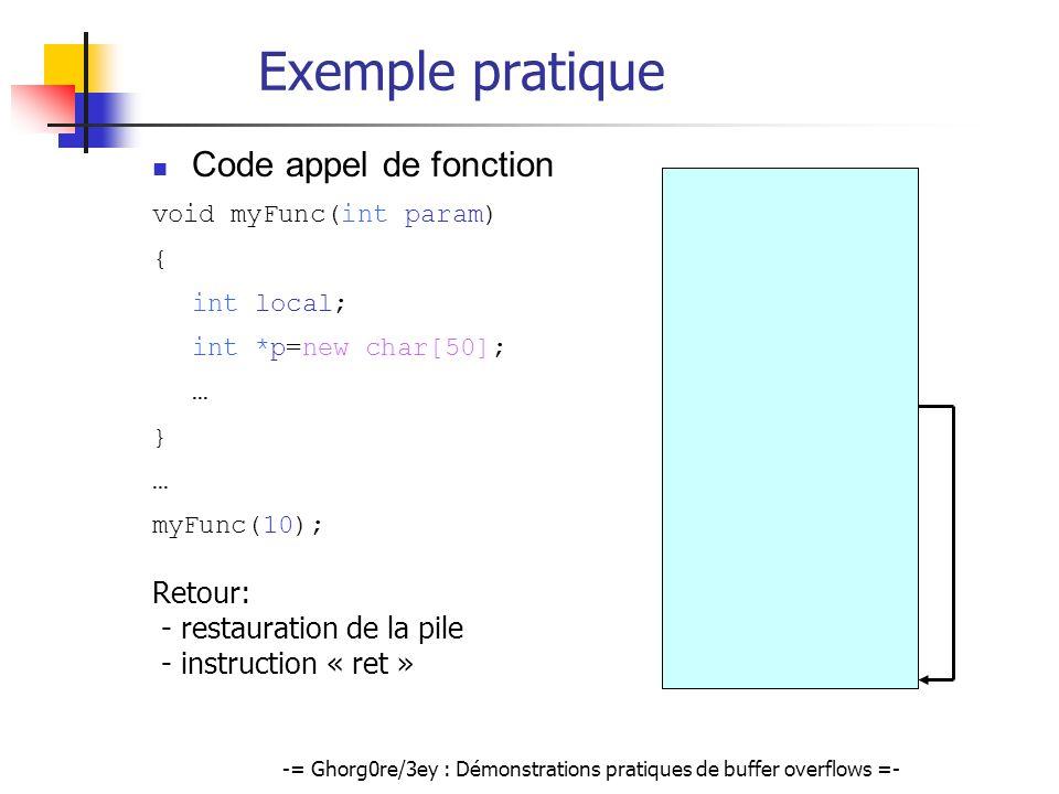 -= Ghorg0re/3ey : Démonstrations pratiques de buffer overflows =- Écriture dun shellcode (2) Deux contraintes: Shellcode doit être capable de retrouver @ de kernel32.dll Shellcode doit rester de taille raisonnable Principe du shellcode Récupération de ladresse de kernel32.dll (PEB) Récupération de ladresse de GetProcAdress() (Parse export directory) Appel de GetProcAdress(@kernel32.dll, LoadLibrary ) Appel de LoadLibrary( urlmon.dll ) Appel de GetProcAdress(@urlmon.dll, URLDownloadToFile ) Contact faux serveur web et télécharge BackDoor Exécute la BackDoor