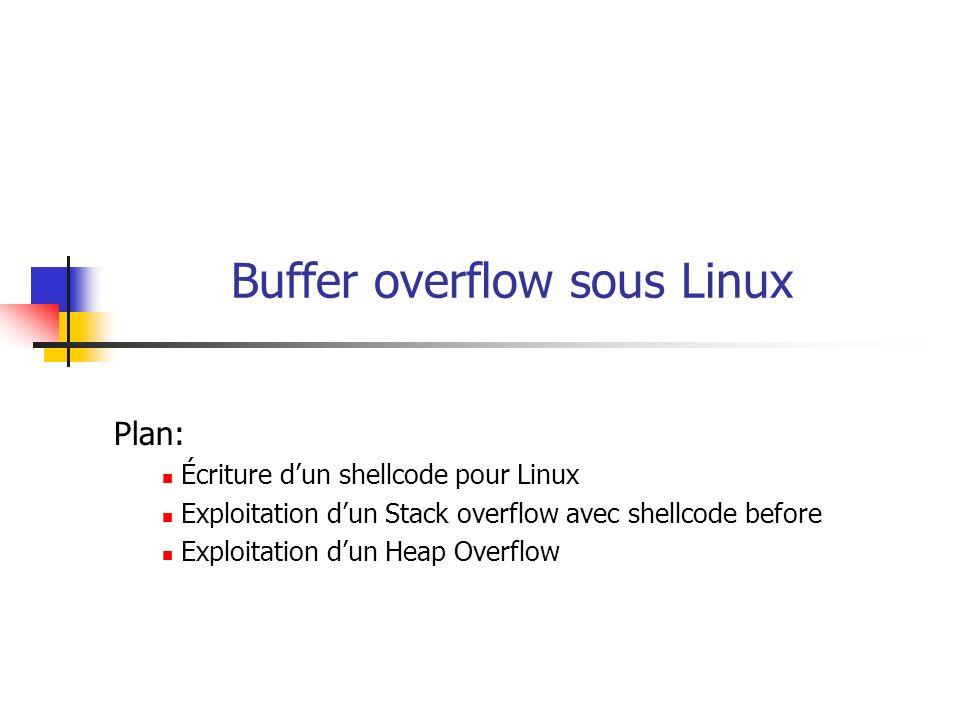 Buffer overflow sous Linux Plan: Écriture dun shellcode pour Linux Exploitation dun Stack overflow avec shellcode before Exploitation dun Heap Overflo