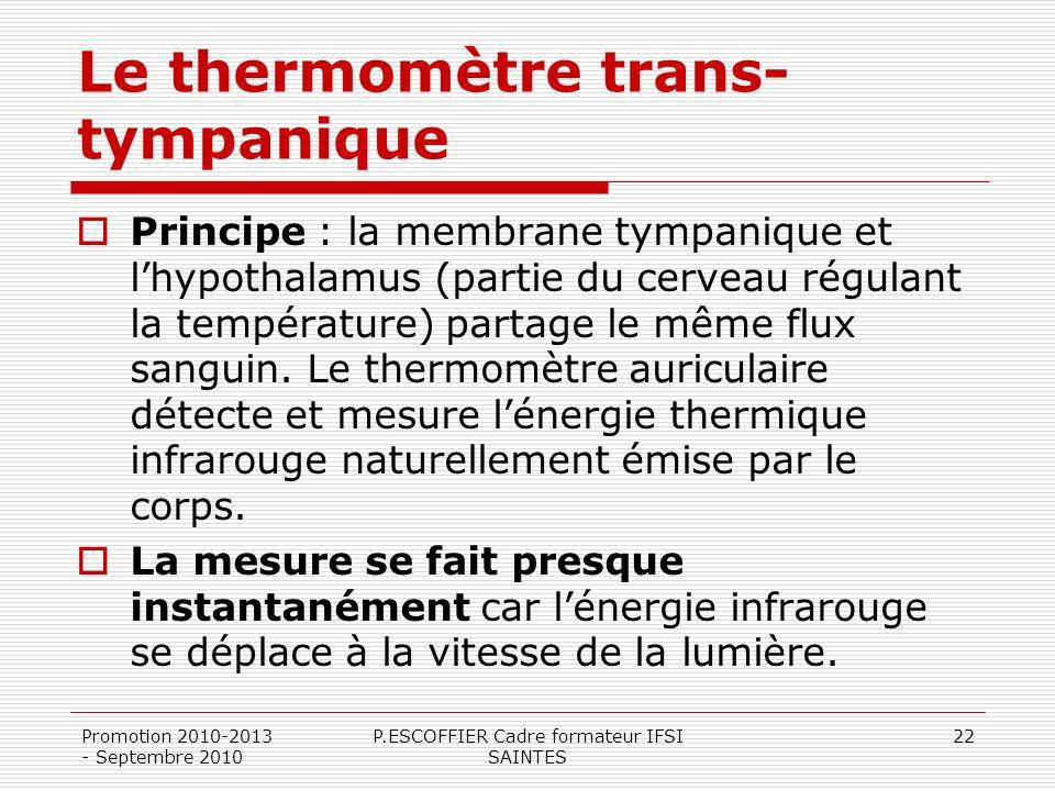 Promotion 2010-2013 - Septembre 2010 P.ESCOFFIER Cadre formateur IFSI SAINTES 22 Le thermomètre trans- tympanique Principe : la membrane tympanique et