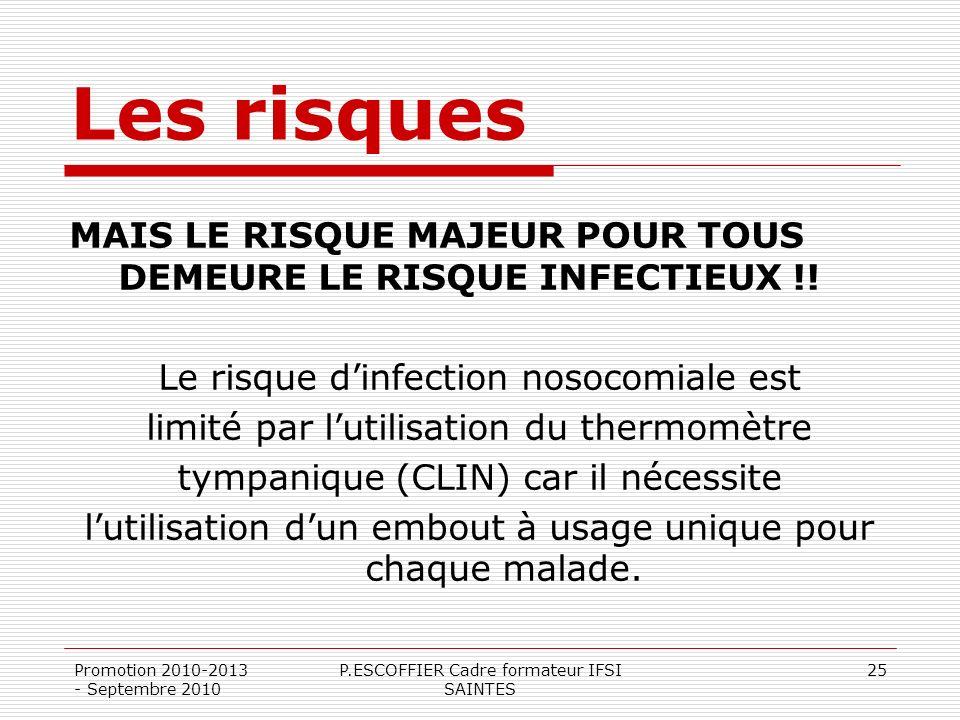 Promotion 2010-2013 - Septembre 2010 P.ESCOFFIER Cadre formateur IFSI SAINTES 25 Les risques MAIS LE RISQUE MAJEUR POUR TOUS DEMEURE LE RISQUE INFECTI
