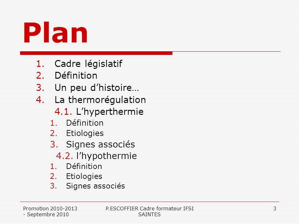 Promotion 2010-2013 - Septembre 2010 P.ESCOFFIER Cadre formateur IFSI SAINTES 3 Plan 1.Cadre législatif 2.Définition 3.Un peu dhistoire… 4.La thermoré