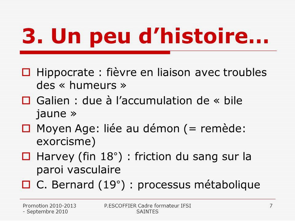 Promotion 2010-2013 - Septembre 2010 P.ESCOFFIER Cadre formateur IFSI SAINTES 7 3. Un peu dhistoire… Hippocrate : fièvre en liaison avec troubles des