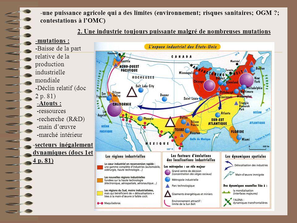 -une puissance agricole qui a des limites (environnement; risques sanitaires; OGM ?; contestations à lOMC) 2. Une industrie toujours puissante malgré