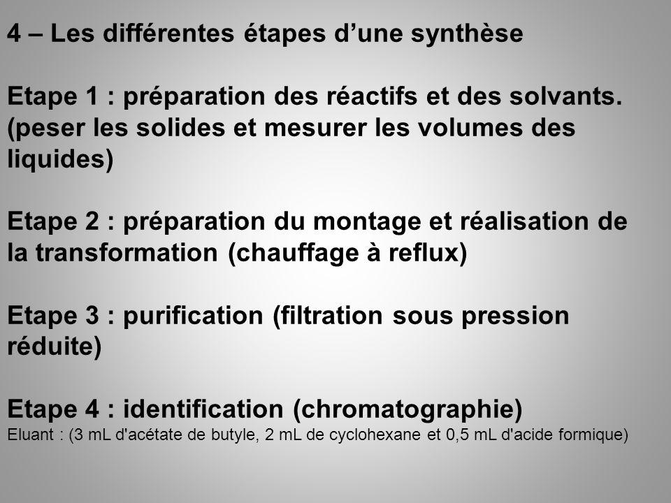 4 – Les différentes étapes dune synthèse Etape 1 : préparation des réactifs et des solvants. (peser les solides et mesurer les volumes des liquides) E