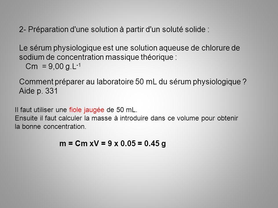 2- Préparation d'une solution à partir d'un soluté solide : Le sérum physiologique est une solution aqueuse de chlorure de sodium de concentration mas