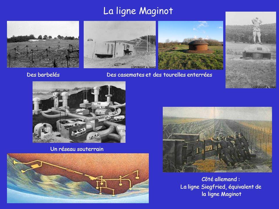La ligne Maginot Des barbelésDes casemates et des tourelles enterrées Un réseau souterrain Côté allemand : La ligne Siegfried, équivalent de la ligne