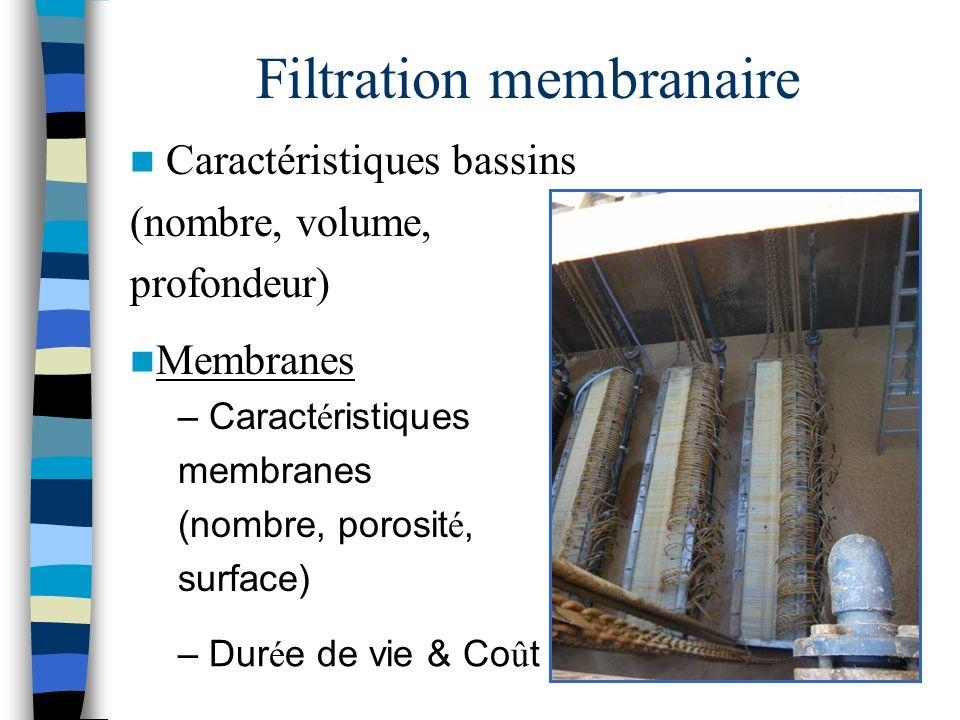 Filtration membranaire Caractéristiques bassins (nombre, volume, profondeur) Membranes – Caract é ristiques membranes (nombre, porosit é, surface) – D