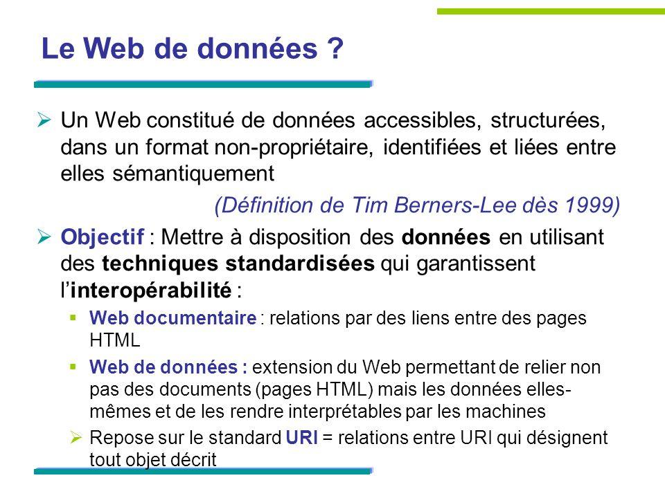 Le Web de données ? Un Web constitué de données accessibles, structurées, dans un format non-propriétaire, identifiées et liées entre elles sémantique