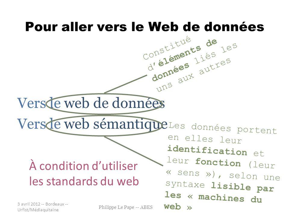 Pour aller vers le Web de données Vers le web de données Vers le web sémantique 3 avril 2012 -- Bordeaux -- Urfist/Médiaquitaine Philippe Le Pape -- A