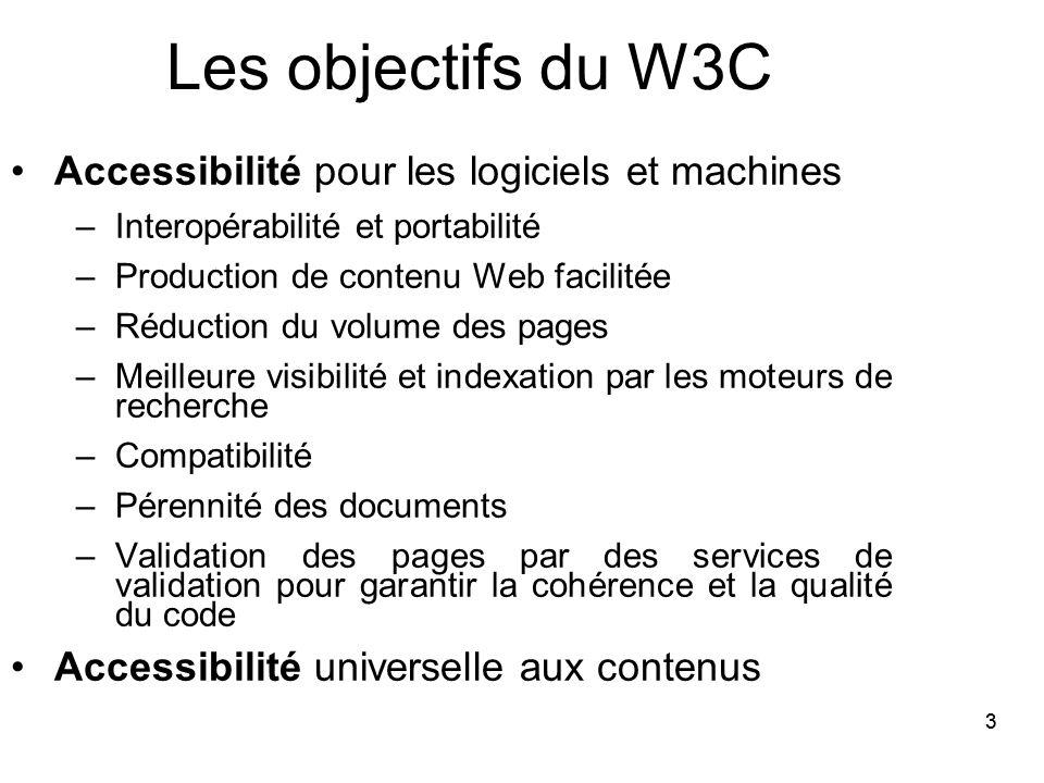 33 Les objectifs du W3C Accessibilité pour les logiciels et machines –Interopérabilité et portabilité –Production de contenu Web facilitée –Réduction