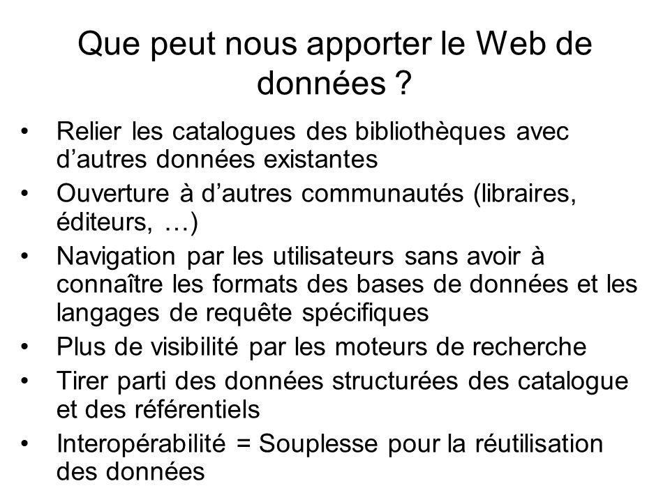 Que peut nous apporter le Web de données ? Relier les catalogues des bibliothèques avec dautres données existantes Ouverture à dautres communautés (li