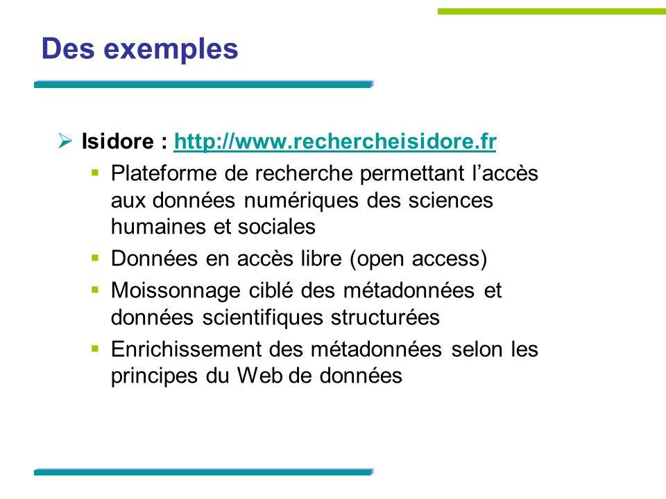 Des exemples Isidore : http://www.rechercheisidore.frhttp://www.rechercheisidore.fr Plateforme de recherche permettant laccès aux données numériques d