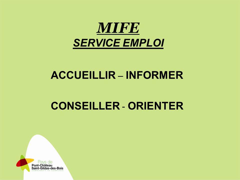 MIFE SERVICE EMPLOI ACCUEILLIR – INFORMER CONSEILLER - ORIENTER