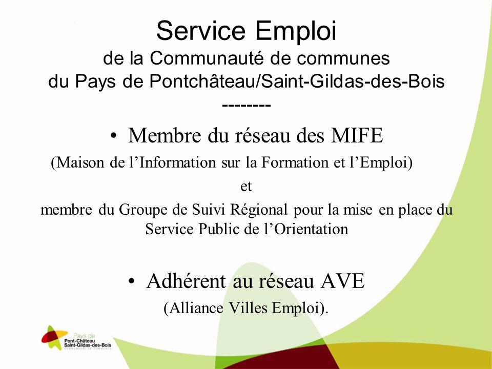 Service Emploi de la Communauté de communes du Pays de Pontchâteau/Saint-Gildas-des-Bois -------- Membre du réseau des MIFE (Maison de lInformation su