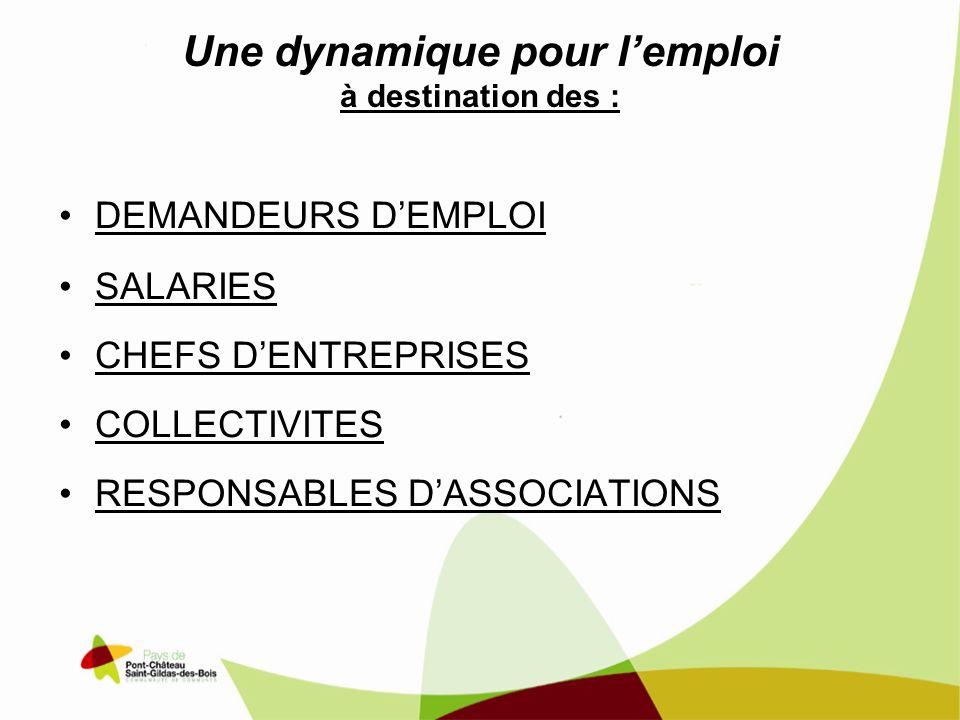 Une dynamique pour lemploi à destination des : DEMANDEURS DEMPLOI SALARIES CHEFS DENTREPRISES COLLECTIVITES RESPONSABLES DASSOCIATIONS