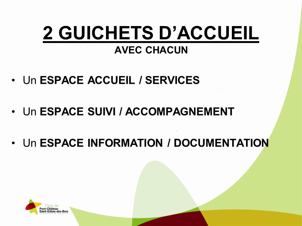 2 GUICHETS DACCUEIL AVEC CHACUN Un ESPACE ACCUEIL / SERVICES Un ESPACE SUIVI / ACCOMPAGNEMENT Un ESPACE INFORMATION / DOCUMENTATION