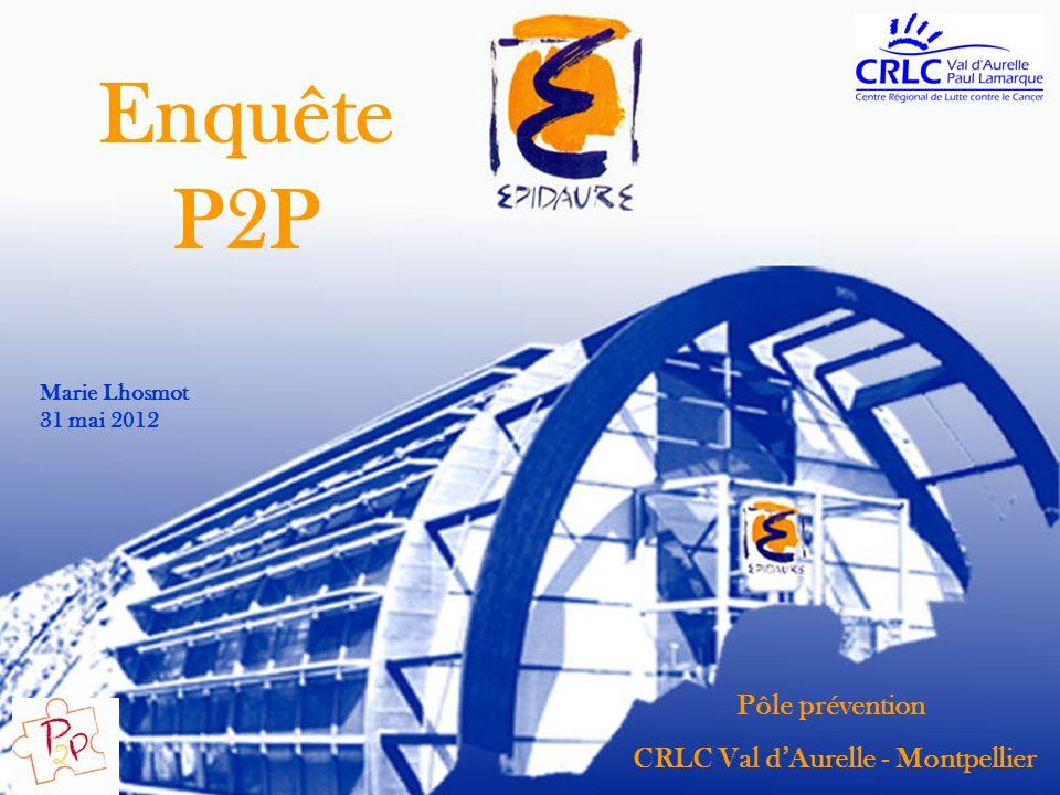 Pôle prévention CRLC Val dAurelle - Montpellier Enquête P2P Marie Lhosmot 31 mai 2012