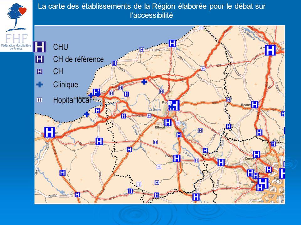 La carte des établissements de la Région élaborée pour le débat sur laccessibilité