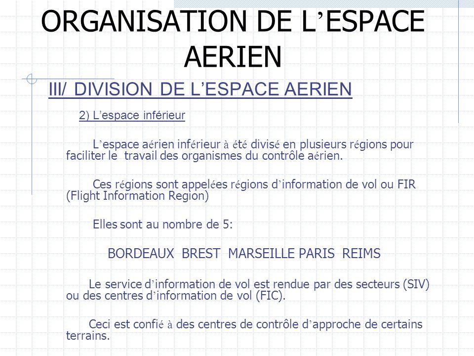 ORGANISATION DE L ESPACE AERIEN III/ DIVISION DE LESPACE AERIEN 2) Lespace inférieur L espace a é rien inf é rieur à é t é divis é en plusieurs r é gi