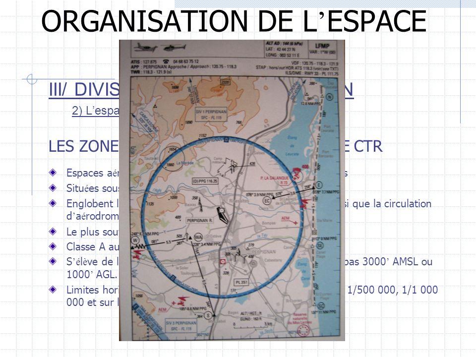 ORGANISATION DE L ESPACE AERIEN III/ DIVISION DE LESPACE AERIEN 2) Lespace inférieur LES ZONES DE CONTRÔLE D AERODROME CTR Espaces a é riens directeme