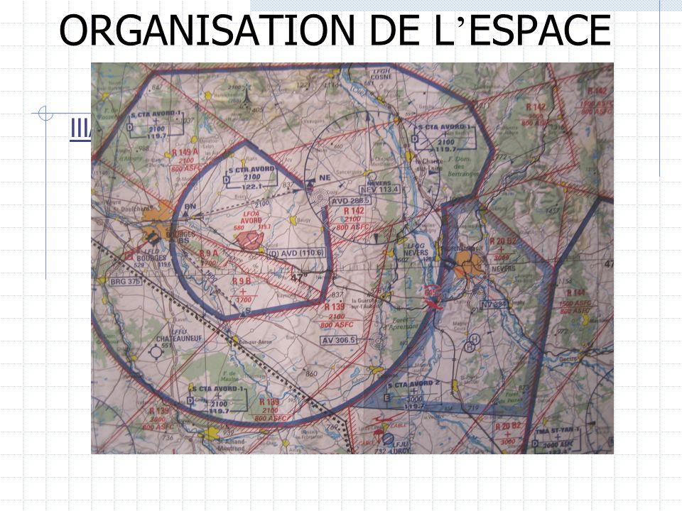 ORGANISATION DE L ESPACE AERIEN III/ DIVISION DE LESPACE AERIEN 2) Lespace inférieur LES S/CTA, S/TMA ET S/CTR Particularit é de ces r é gions et zone