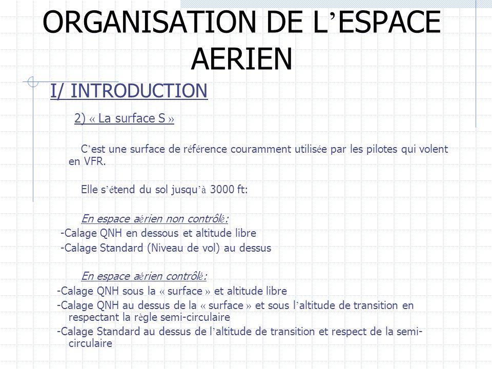 ORGANISATION DE L ESPACE AERIEN I/ INTRODUCTION 2) « La surface S » C est une surface de r é f é rence couramment utilis é e par les pilotes qui volen
