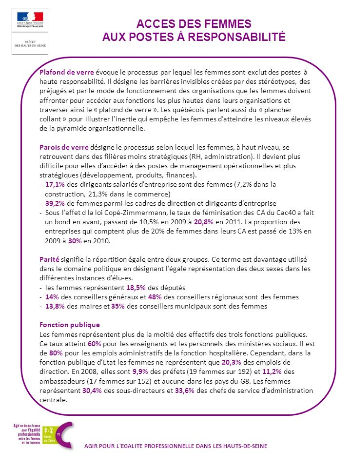 ACCES DES FEMMES AUX POSTES Á RESPONSABILITÉ AGIR POUR L'EGALITE PROFESSIONNELLE DANS LES HAUTS-DE-SEINE Plafond de verre évoque le processus par lequ