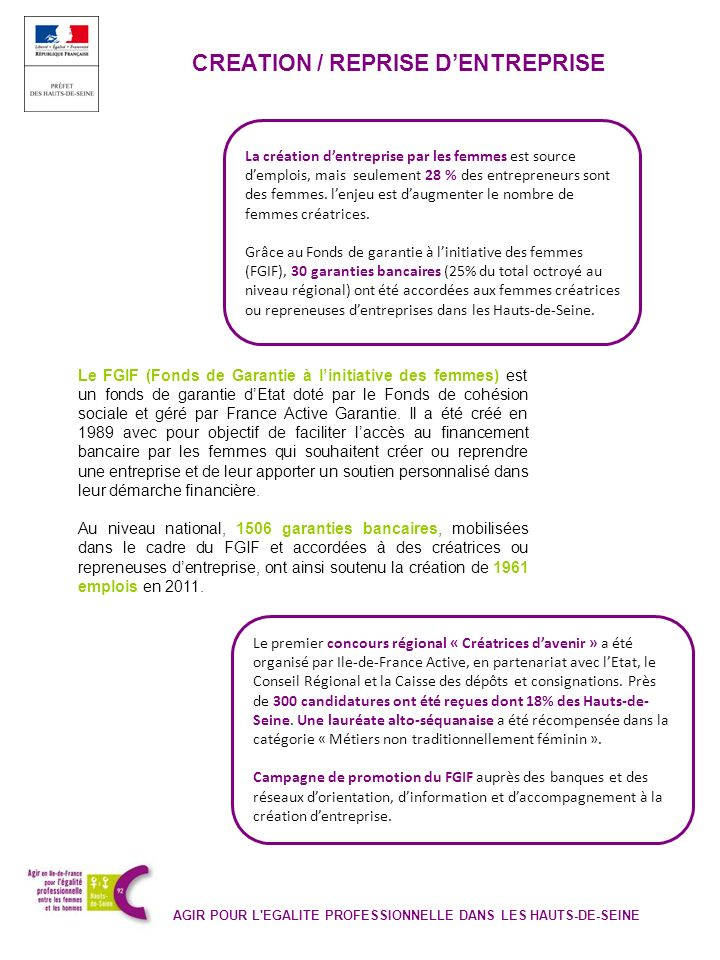 CREATION / REPRISE DENTREPRISE AGIR POUR L'EGALITE PROFESSIONNELLE DANS LES HAUTS-DE-SEINE Le FGIF (Fonds de Garantie à linitiative des femmes) est un