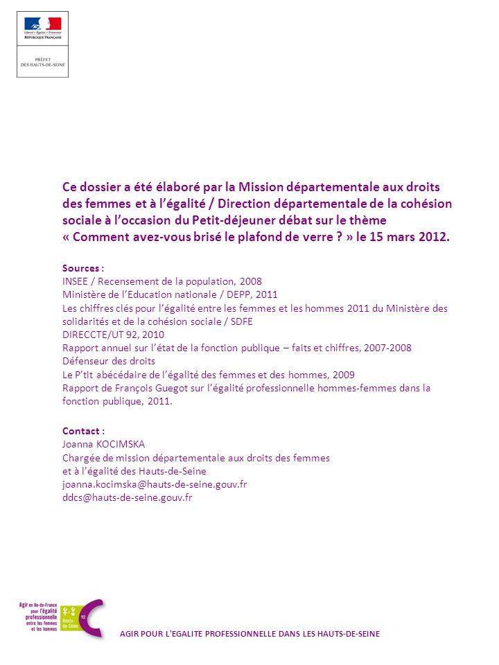 Ce dossier a été élaboré par la Mission départementale aux droits des femmes et à légalité / Direction départementale de la cohésion sociale à loccasi