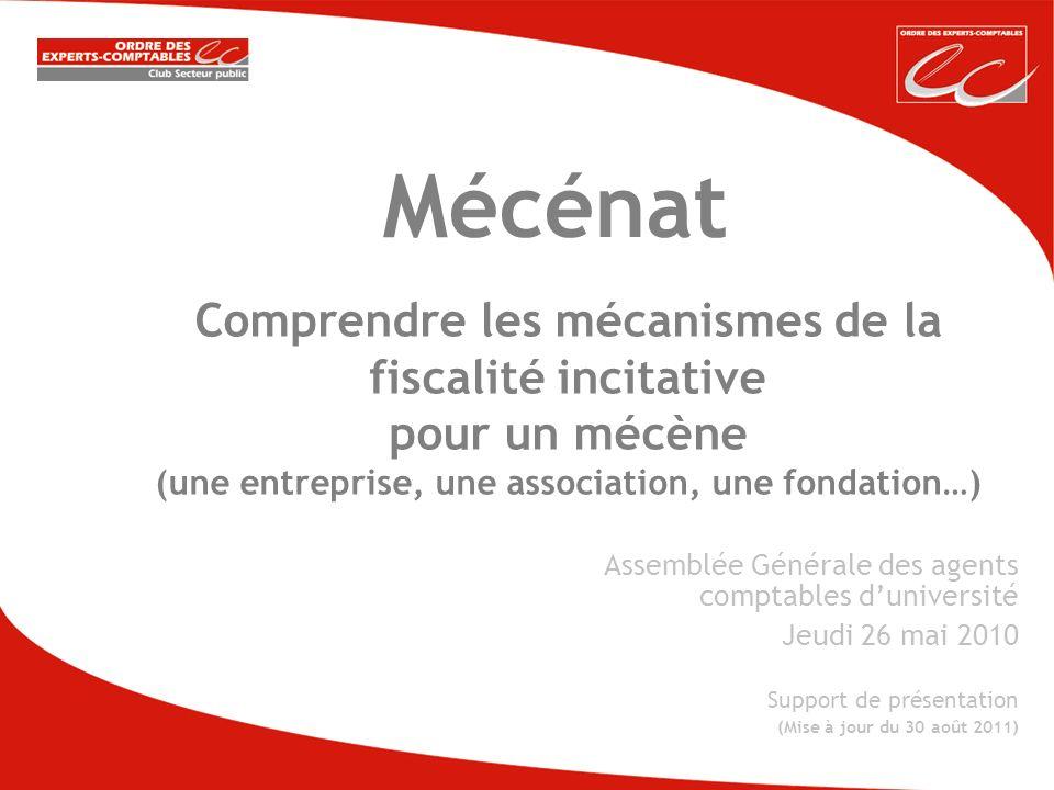 Comprendre les mécanismes de la fiscalité incitative pour un mécène (une entreprise, une association, une fondation…) Mécénat Assemblée Générale des a