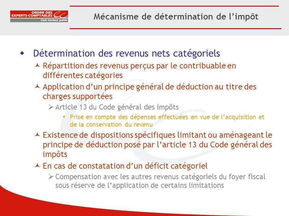 Mécanisme de détermination de limpôt Détermination des revenus nets catégoriels Répartition des revenus perçus par le contribuable en différentes caté