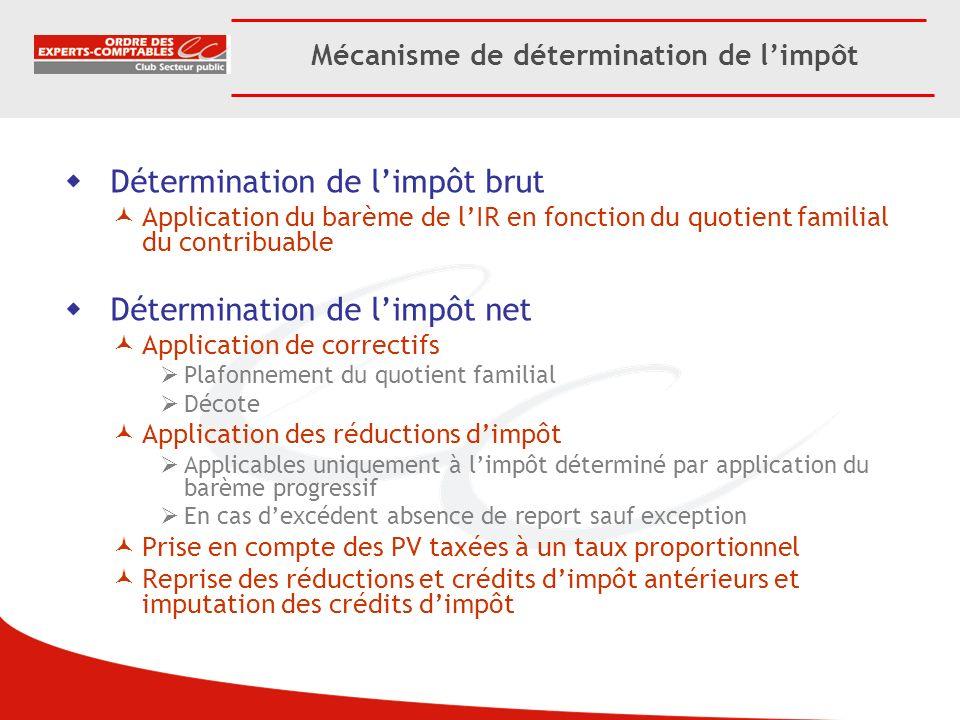 Mécanisme de détermination de limpôt Détermination de limpôt brut Application du barème de lIR en fonction du quotient familial du contribuable Déterm
