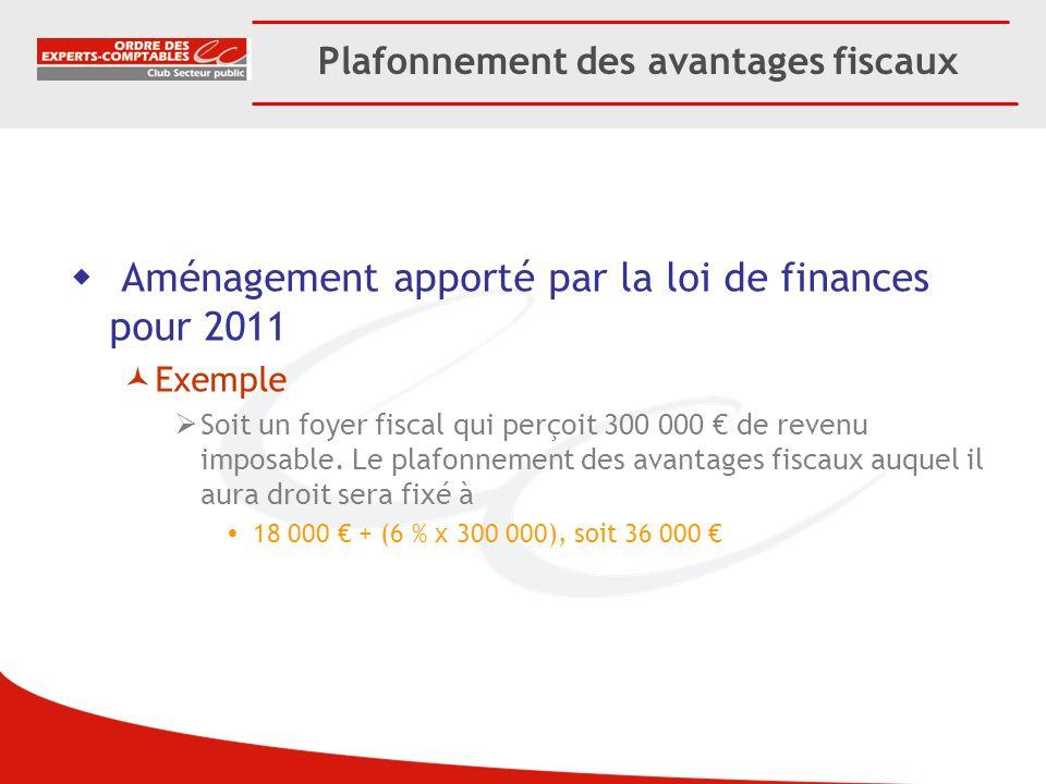 Plafonnement des avantages fiscaux Aménagement apporté par la loi de finances pour 2011 Exemple Soit un foyer fiscal qui perçoit 300 000 de revenu imp