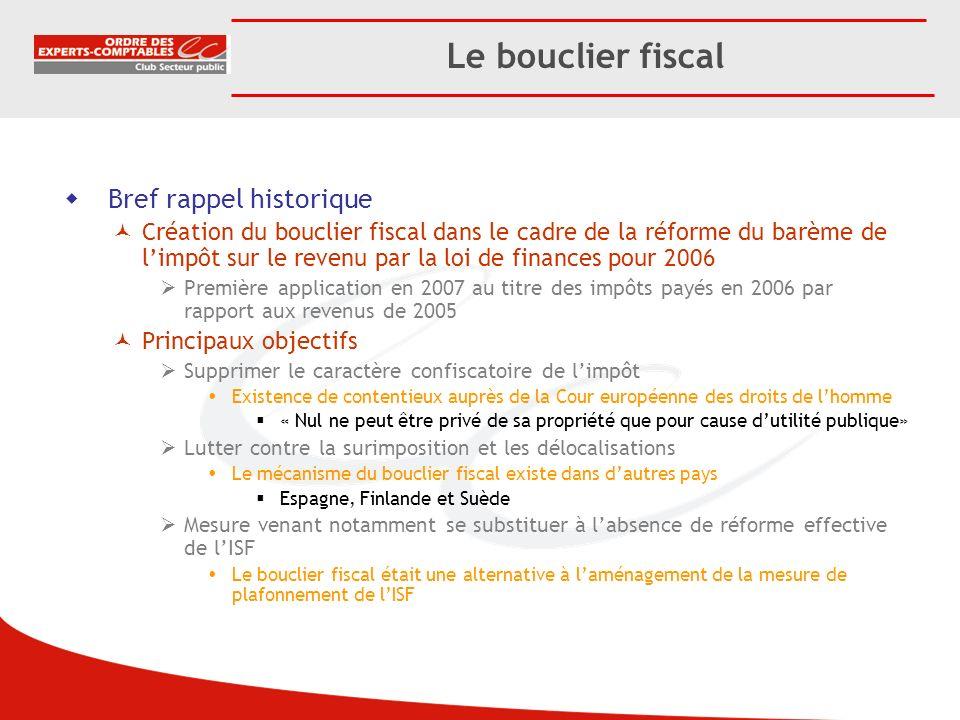 Bref rappel historique Création du bouclier fiscal dans le cadre de la réforme du barème de limpôt sur le revenu par la loi de finances pour 2006 Prem